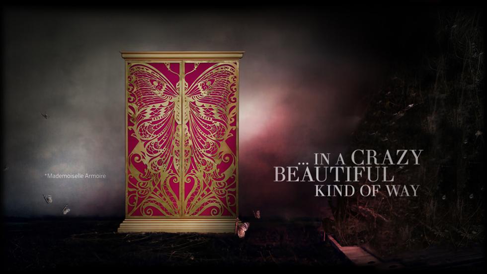 """""""El armario Mademoiselle, según nos comentan desde Koket, fue diseñado a partir de la profunda influencia y admiración que el arte decorativo francés despertaba en sus creadores.""""  Armario Mademoiselle de Koket mademoiselle"""