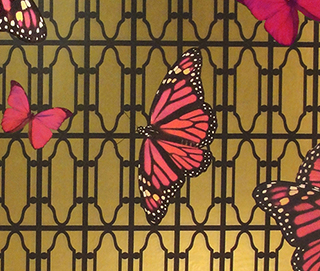 Butterflies on Gate Magenta Wall Covering