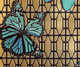 Butterflies on Gate Turquoise Wall Covering