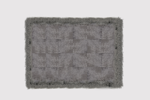 COWHIDE WITH MONGOLIAN GOAT PEWTER Rug by KOKET