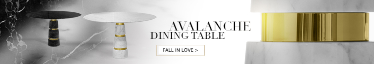 avalanche dining table by koket - marble dining tables - round dining tables - white marble dining tables - black marble dining table - marble and brass dining tables - luxury furniture - luxury tables - unique dining tables - contemporary dining tables