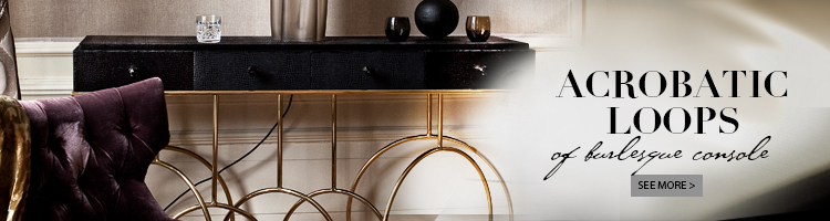 console table with black top and brass base made up of looping forms - burlesque console by koket