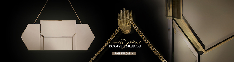 egoist mirror by koket - horizontal mirrors - brass mirrors - hand mirrors - luxury mirrors - unique mirrors - luxury furniture