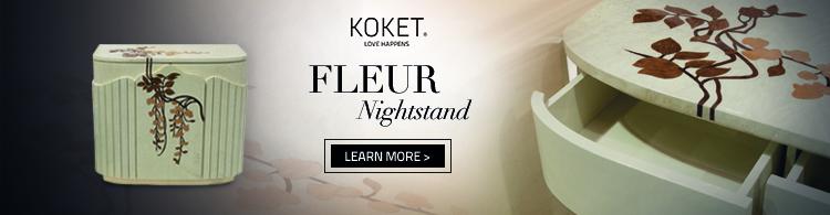 fleur nightstand by koket - wood inlay
