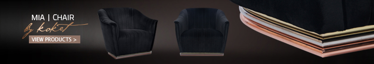 unique upholstered black chair with a copper, silver and gold base - mia chair by koket