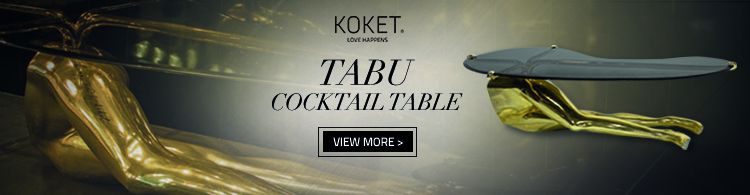 tabu cocktail table by koket - gold cocktail table with legs