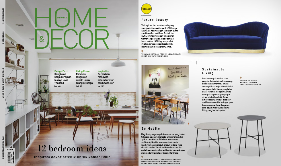 Home And Decor September 2015 cover by Koket