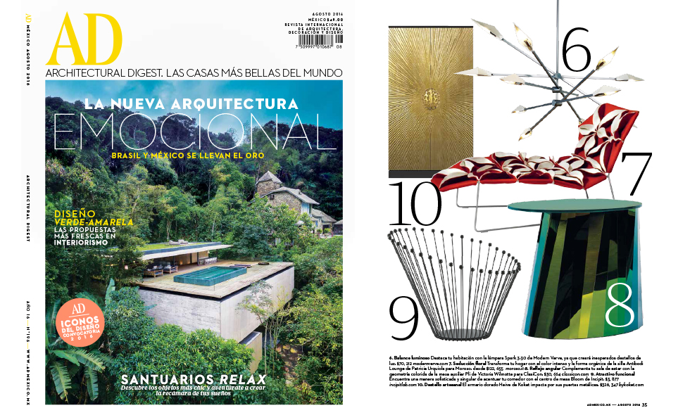 Architectural Digest August 2016 cover by Koket