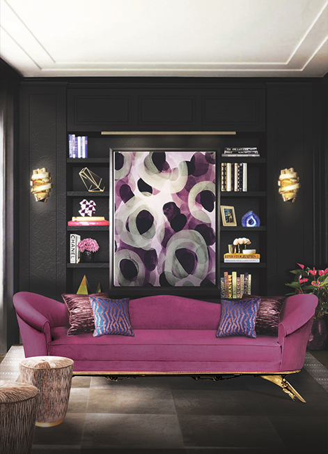 Koket projects with chloe sconce collete sofa and tresor stool http