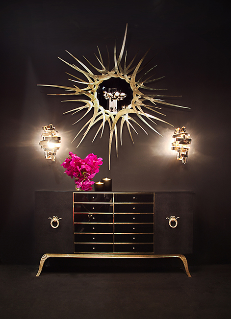 Koket projects with chloe sconce guilt mirror and sinful cabinet http